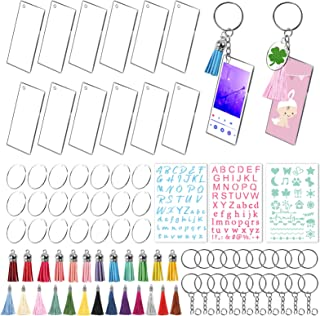 50PCS Acrylic Keychain Blanks, 20PCS Rectangle Acrylic Transparent Song Keychain and 30PCS 1 Inch Round Discs for DIY Crafts