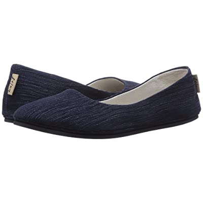 French Sole Sloop Flat (Navy Pinstripe) Women
