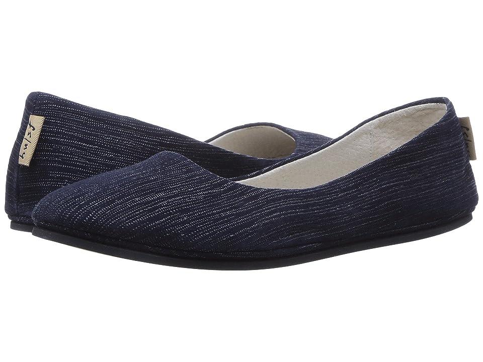 French Sole Sloop Flat (Navy Pinstripe) Women