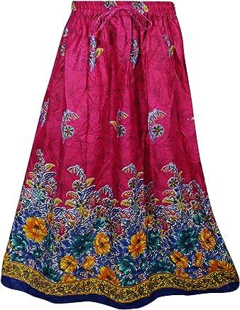 Women Long Skirts Printed Pink A-Line Flirty Bohemian Flare Skirt