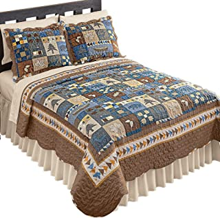 Collections Etc Woodlands Cabin Blue and Brown Patchwork Quilt, Bears, Moose, Pine Trees Décor, Blue Patchwork, King