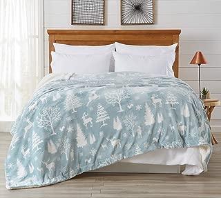 Premium Reversible Sherpa and Sculpted Velvet Plush Luxury Blanket. Fuzzy, Soft, Warm Berber Fleece Bed Blanket. (Twin, Enchanted Woods - Blue)