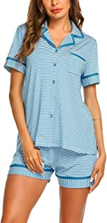 Pajamas Soft Striped Women's Short Sleeve Button Sleepwear Shorts Shirt PJ Set(S-XXL)