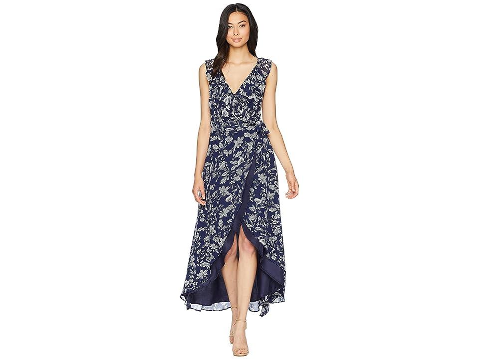 BB Dakota RSVP Kelli Ruffle Neck Printed Dress (Vintage Blue) Women