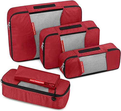Travel Packing Cubes, Gonex Luggage Organizers Different Set - (L+M+2Slim+Laundry Bag) Red - L+M+2Slim+Laundry Bag