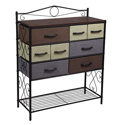 Household Essentials Victorian 8 Drawer Chest | Storage Dresser Or Entryway  Table | Black