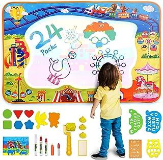 MOZOOSON Water Doodle Mat, Extra Large Magic Aqua Doodle Mat with 4 Magic Pens+3 Stamps+2 Drawing Templates, Reusable Draw...