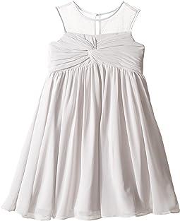 Sleeveless Illusion Neckline Chiffon Empire Dress (Little Kids)
