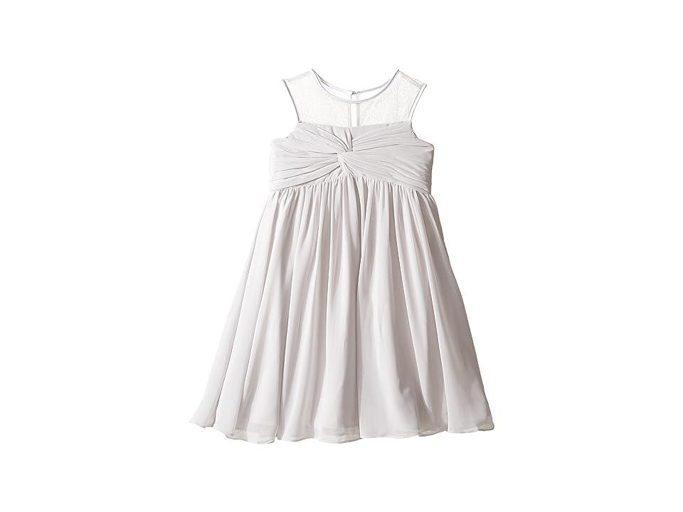 Us Angels Sleeveless Illusion Neckline Chiffon Empire Dress (Little Kids) (Silver) Girl