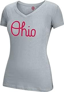 J. America NCAA Ohio State Buckeyes Female Band Script Essential Tee, Oxford, XX-Large