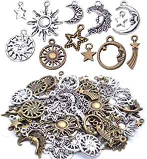 About 80 Pieces Celestial Collection Charms, Mixed Sun Moon Star Meteor Charms Pendant Jewelry Findings for DIY Necklace Bracelet Earrings - Vintage Bronze and Silver Color