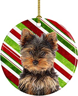 Candy Cane Holiday Christmas Yorkie Puppy/Yorkshire Terrier Ceramic Ornament KJ1174CO1