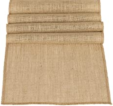 Ling's moment 12 x 108 Inches Jute Farmhouse Table Runner Burlap Table Decor Bamboo for Fall Autumn Rustic Wedding Decorations Woodland Baby Shower Country Kitchen Boho Out Table Decor