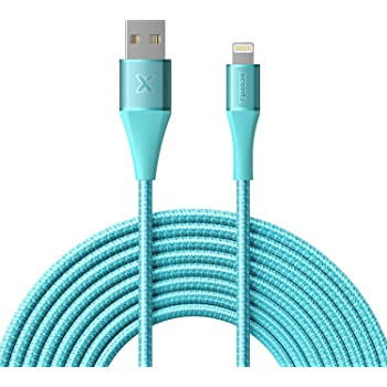 Xcentz iPhone Charger 10ft, Apple MFi Certified Lightning Cable, Braided Nylon High-Speed iPhone Cable with Premium Metal Connector for iPhone X/XS/XR/XS Max/8/7/6/5S/SE, iPad Pro/Mini/Air, Blue