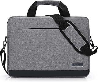 Memoryee 14&15.6 Inch Business Laptop Messenger & Shoulder Bag with Handle Slim Zip Canvas Lightweight Waterproof Briefcase Handbag for Men Women Grey 15.6Inch