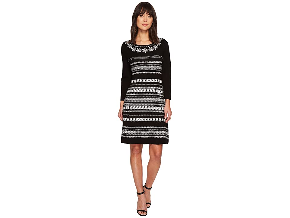 CeCe Long Sleeve Jacquard Sweater Dress (Rich Black) Women