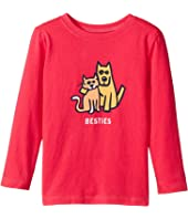 Life is Good Kids Besties Cat And Dog Long Sleeve Crusher Tee (Toddler)