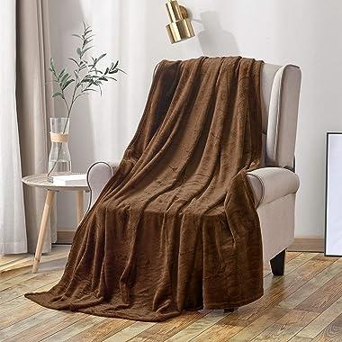 Softan毛布 シングル 人気 おしゃれ毛布 フランネル ブランケット プレミアムマイクロファイバー 軽い 暖かい 柔らかい 肌触りにやさしい 150X200cm ブラウン