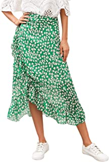 Simplee Women's High Waisted Boho Wrap Skirt Floral Print Beach Chiffon Skirt