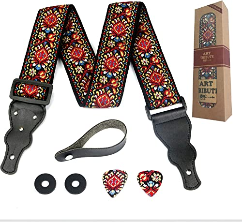 Guitar Strap Embroidered Red Vintage Woven W/FREE BONUS- 2 Picks + Strap Locks + Strap Button. Stocking Stuffer For B...