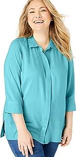 Women's Plus Size Elbow Sleeve A-Line Blouse