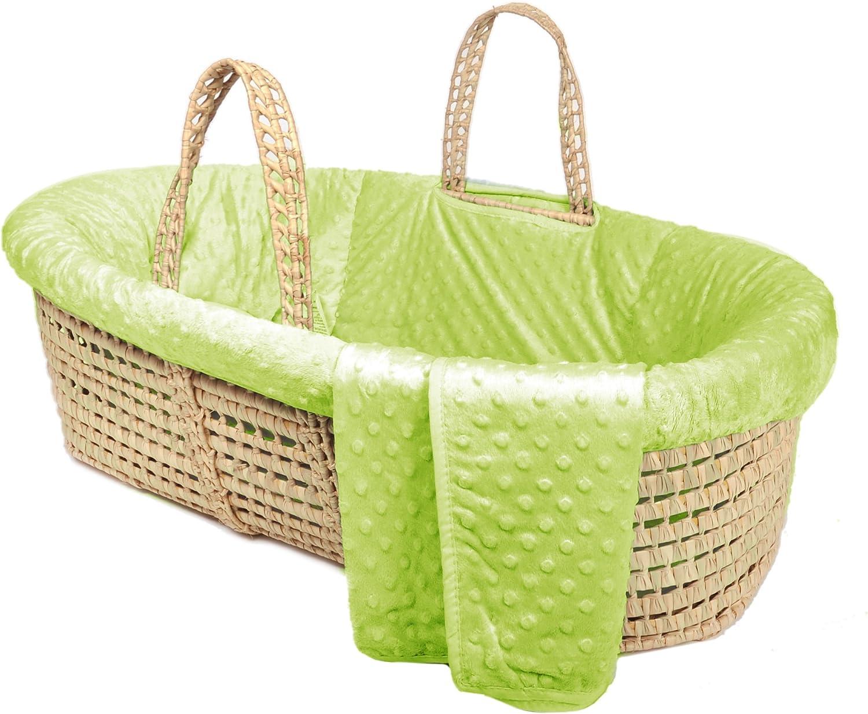 Tadpoles Minky Dot Moses Basket and Bedding Set, Green