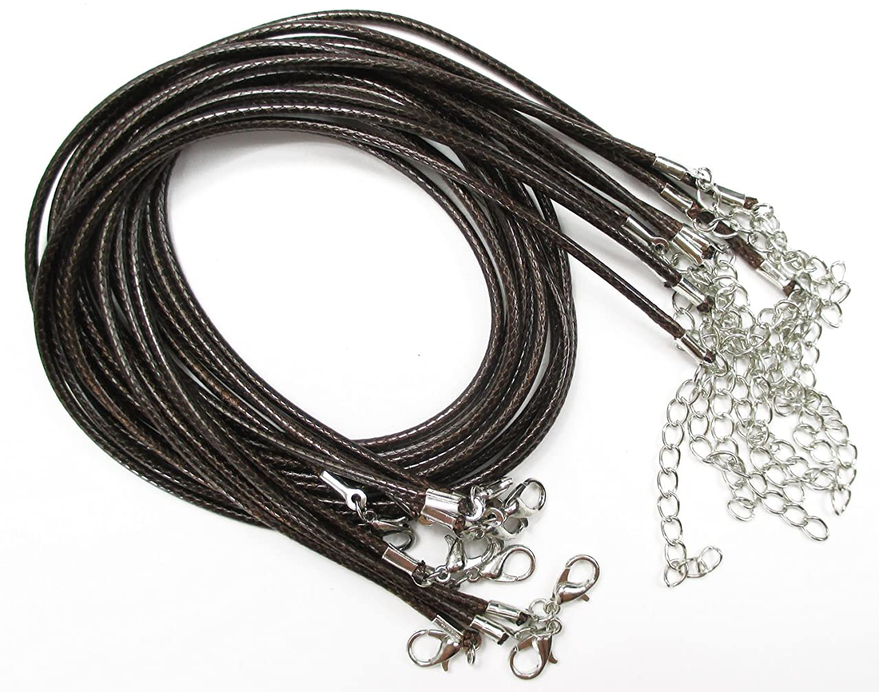 "ALL in ONE Faux Leather Braided Cord Necklace with Lobster Clasp Extended Chain 17""-19"" (1.5MM, BROWN)"