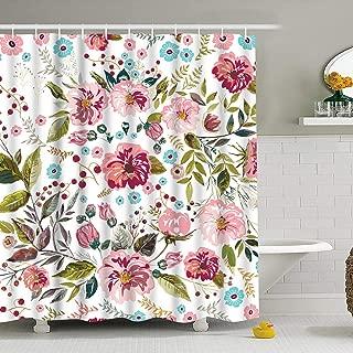 BLEUM CADE Bathroom Shower Curtain Flower Bathroom Curtain Durable Bath Curtain Bathroom Accessories Ideas Kitchen Window Curtain with 12 Hooks (Multicolor, 75 × 69 inches)