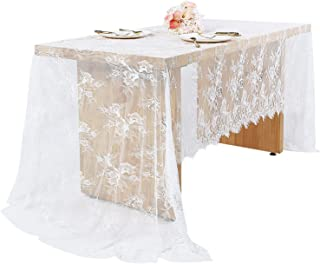 Woowland 60 x 120 Inch Wedding White Lace Tablecloths, Vintage Floral Embroidered Lace Table Runner Table Cover, Boho Wedding Party Decoration, Bridal Shower Baby Shower Sweet Table Decorations