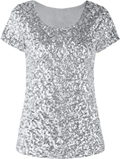 PrettyGuide Women's Sequin Tops Sparkly Short Sleeve Cocktail Formal Evening Party Blouse Shirt M Silver