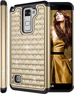 LG Stylus 2 Case, LG Stylo 2 Case, LG Stylo 2 V Case, Style4U Studded Rhinestone Crystal Bling Hybrid Armor Case Cover for LG Stylo 2 LS775 / Stylo 2 V VS835 with 1 Style4U Stylus [Gold / Black]