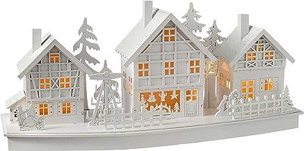 WeRChristmas Pre-Lit Village Scene Christmas Decoration, Wood, 37.5 cm - White