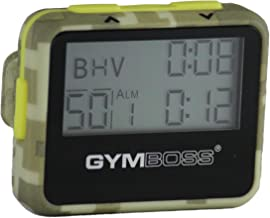 Gymboss Interval Timer and Stopwatch - GREEN CAMOUFLAGE/YELLOW SOFTCOAT