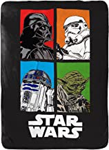 Jay Franco Star Wars Classic Blanket - Measures 62 x 90 inches, Kids Bedding Features Darth Vader, Stormtrooper, Yoda, and R2-D2-Fade Resistant Super Soft Fleece - (Official Star War Product)