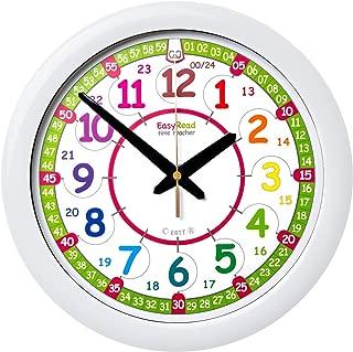 EasyRead Time Teacher Children's Wall Clock ERTT-DIG, 12 & 24 Hour Time, Rainbow Clock Face