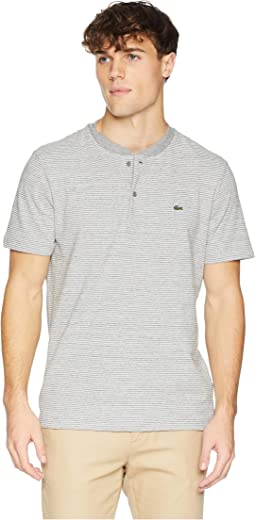 Short Sleeve Regular Fit Fine Stripe Henley