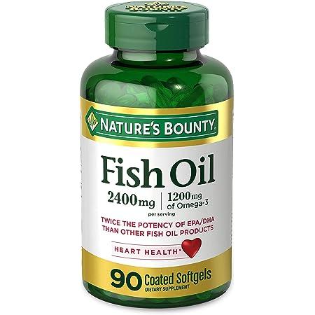 Nature's Bounty Fish Oil, 2400mg, 1200mg of Omega-3, 90 Coated Softgels