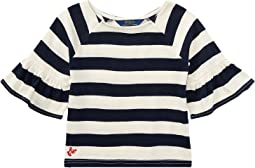 Polo Ralph Lauren Kids - Striped Ruffle Sleeve Top (Little Kids)