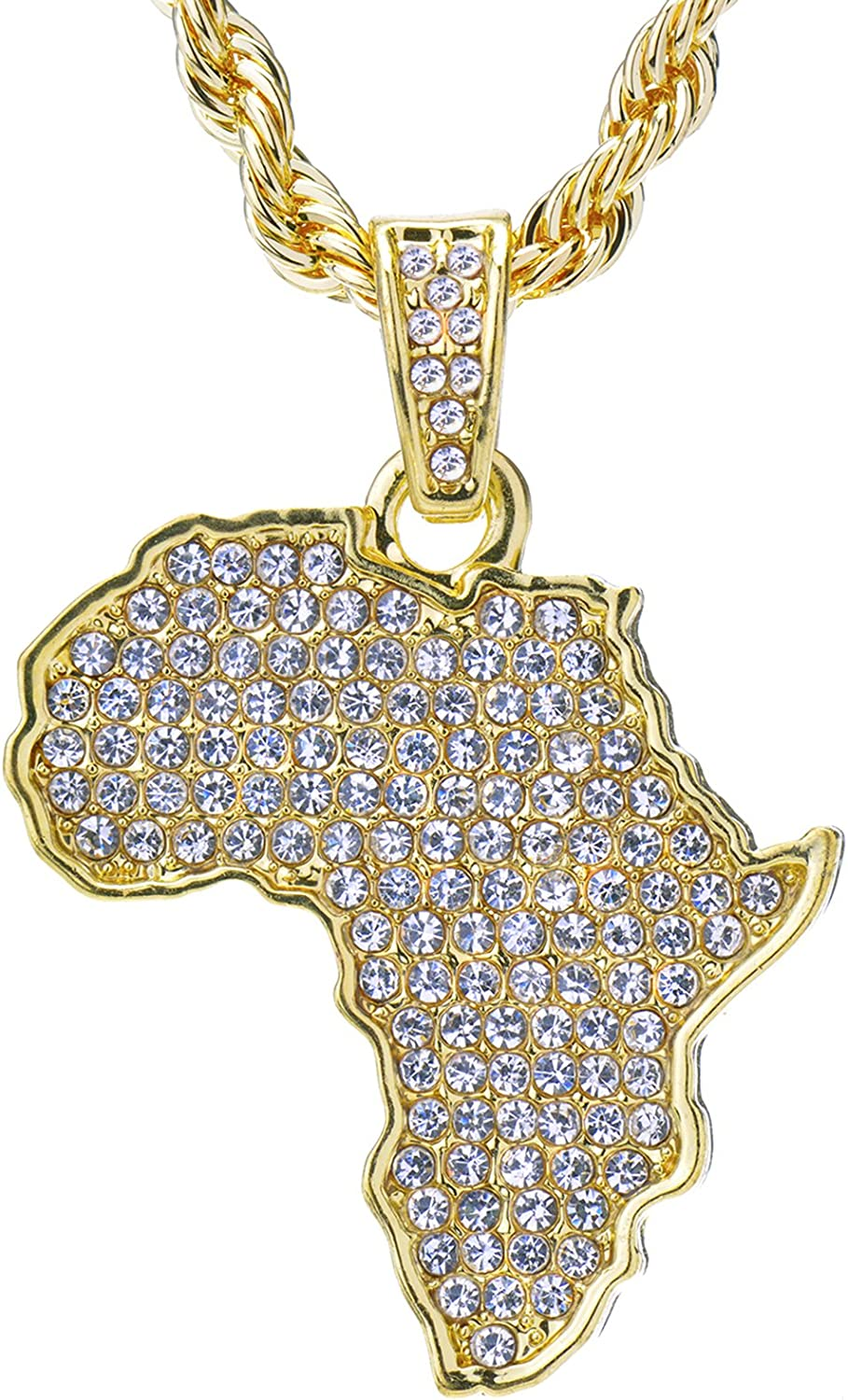 Hip Hop Iced 14k Gold Tone African Map Pendant and Rope Chain 24