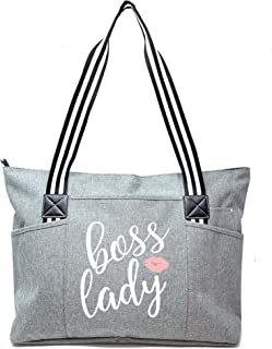 Boss Lady Gifts for Women - Cute Zippered Canvas Tote Bag with Pockets Fun Gift
