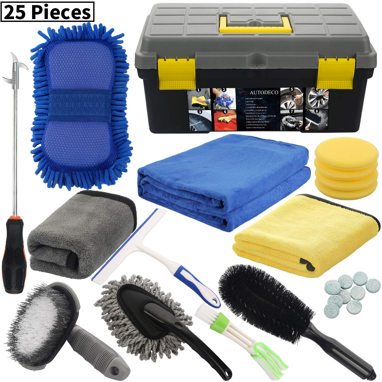AUTODECO 25Pcs Microfibre Car Wash Cleaning Tools Set Gloves Towels Applicator Pads Sponge Car Care Kit Wheel Brush Car Cleaning Kit with Storage Box Black Grey Yellow Handle