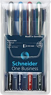 Schneider Pen, One Business, 0.6 mm, Wallet, Pack of 4 (Black, Red, Blue & Green) (RS183094)