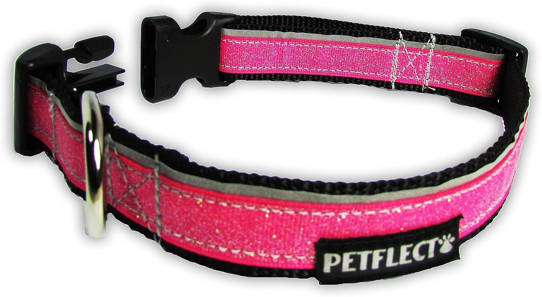 Petflect Glitter Reflective Collar, Pink, Large