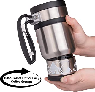 Double Shot 3.0 Travel French Press Coffee Mug - 16 oz Insulated Stainless Steel Mug with Non-Slip Texture - Brü-Stop System and Storage Base - Perfect for Long Commutes and Camping - Brushed Steel