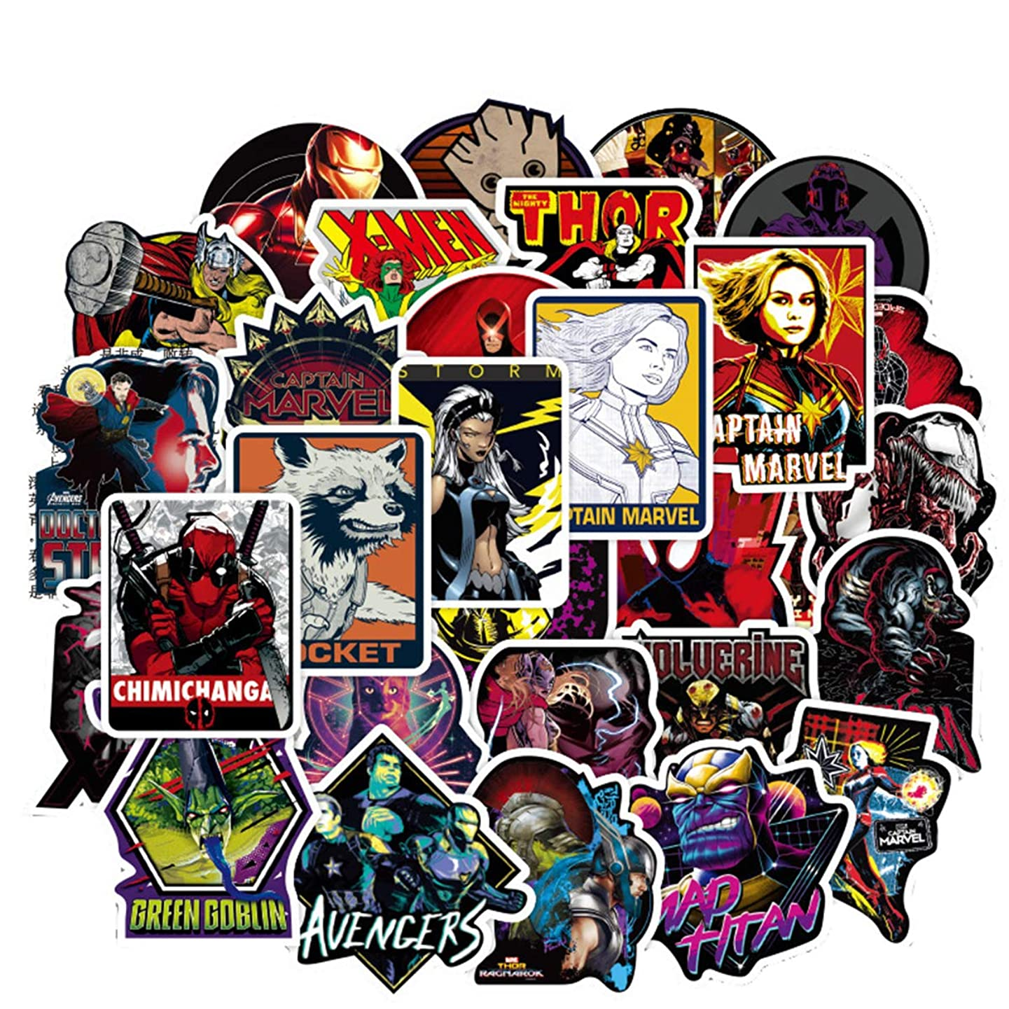 108pcs Marvel Stickers Laptop Stickers Waterproof Skateboard Pad MacBook Car Snowboard Bicycle Luggage Decor (108pcs Marvel)