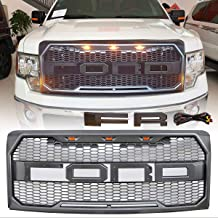 ORB Raptor Style Grille Mesh For 2009-2014 Ford F150 Front Grill with 3 Amber LED Lights /& Letters /& Harness Black