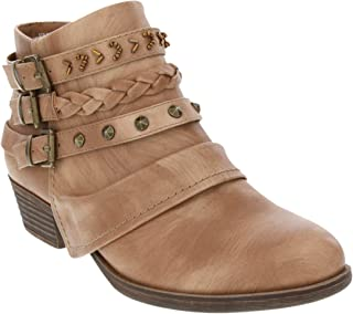 Rampage Women's Tabitha Triple Buckle Ankle Boot Ladies Side Zipper Bootie with Woven Wraparounds Studs and Overlay