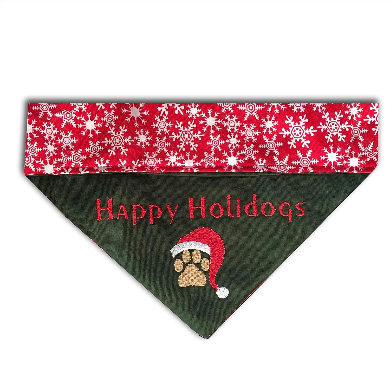 Happy San Diego Mall Holidogs Bandana Over the Under blast sales Emb Dog Christmas Collar