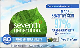 Seventh Generation Fabric Softener Sheets Free Clear 80 Sheets