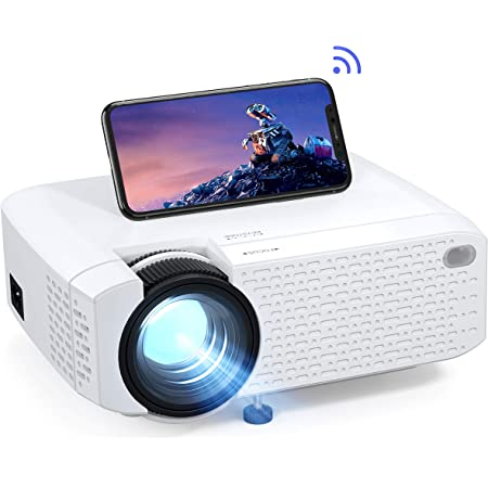 Crosstour Proyector Wi-Fi, Mini Proyector Portátil para Smartphone, Cine en Casa Inalámbrico Soporte Full HD, 176'' Pantalla Grande LED, Compatible con Android iPhone Movil iPad HDMI USB TV Stick